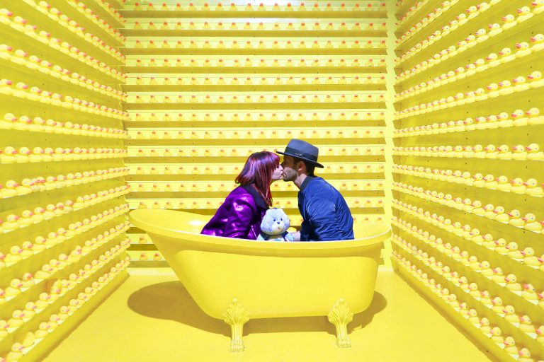 couple in yellow bathtub